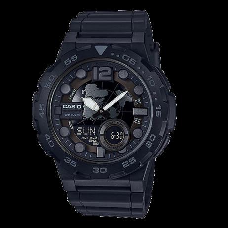 Đồng hồ CASIO AEQ-100W-1BVDF Nam 47.7mm, Pin ( Quartz) Nhựa